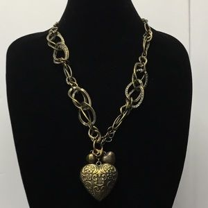 Jewelry - 3/$20 Heart Brass Rustic Chunky Chain Necklace